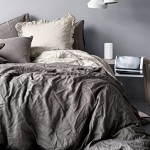 Pure Linen Duvet Quilt Cover 2pc set Twin Single Genuine 100% Linen French Country Old Fashion Charcoal Gray
