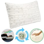 Clara Clark Shredded Memory Foam Gel Fiber-Filled Cool All Side Sleeper Bed Pillow, Queen (Standard) Size, Pure Calming White, with Rayon made from Bamboo Colored Washable Hypoallergenic Zippered Removable Cover, Natural Supportive Alignment, May Reduce Snoring, Migrants, Back & Neck Pain