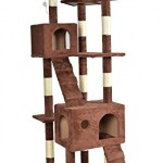 New 73″Cat Tree Scratcher Play House Condo Furniture Toy Bed Post Pet House 9073 Brown