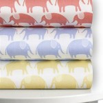 Magnolia Organics Printed Crib Sheet, 300 Thread Count Sateen – Standard, Wheat Elephant