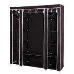 Songmics 59″ Portable Clothes Closet Non-woven Fabric Wardrobe Storage Organizer with Shelves Dark Brown ULSF03K
