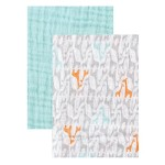 Yoga Sprout Muslin Swaddle Blankets, Teal Giraffe, 46″ x 46″