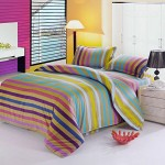 Cotton Blend Well Designed Colorful Stripe Pattern Duvet Cover Sets with Pillow Shams Twin Size