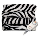 Sunbeam Fleece Heated Throw, Grey/Black Zebra