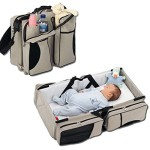 3 in 1 – Baby Travel Bassinet – Diaper Bag – Change Station (Cream) ~ Carrycot Portacrib Travel Bed Crib Portable Change Table