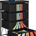 Kids Toy Organizer with 4 Drawers – Fabric Storage Bins, Black with Retro Stripes