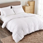 Puredown White Goose Down Comforter-Full/Queen- Cotton Shell 500TC-Stripe White