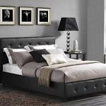 DHP Dakota Faux Leather Upholstered Platform Bed, Queen, Black