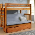 Tall Twin over Full Futon Mission Honey Bunk Bed with Drawers