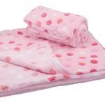 30×30 Inch Plush Fleece Girls Baby Blanket – Polka Dot Blankets by bogo Brands (Set of 2 – Pink)