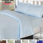 Utopia Bedding Striped Duvet Cover Set – Super Soft Woven Stripes HIGH QUALITY 100% Brushed Microfiber Premium Bedding Collections – Wrinkle, Fade, Stain Resistant – Hypoallergenic -3 Piece Set – Duvet Cover and 2 Pillowcases – Best For Bedroom, Guest Room, Childrens Room, RV, Vacation Home (Queen, Light Blue)