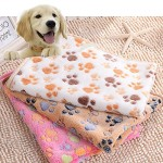 BeesClover Large Small Pet Soft Paw Print Fleece Blanket for Dogs Puppy Cat Guinea Pig ,Color:Coffee;Size:S: 76*52
