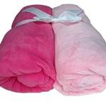 Cozy Fleece Microplush Fitted Crib Sheet, Pale Pink/Dark Pink