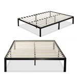 Sleep Master 1000 Platform Metal Bed Frame/Mattress Foundation, no Boxspring needed, Wooden Slat Support, Queen