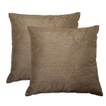 DOZZZ 2 Pack Metallic Quilting Accent Decorative Sofa Toss / Throw Pillow Set, Set of 2, 18 x 18 Inches, Coffee