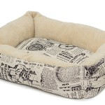 OxGord Pet Bed Dog Bed Slumber Mat Pad Plush Fleece Cushion – 1800's Newspaper Design Cat Kennel Crate