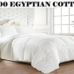 Elegant Comfort 1200 Thread Count Goose Down Alternative 100% Egyptian Cotton Comforter, Full/Queen, Solid White