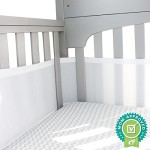 Breathable Mesh Crib Bumper, Liner – FREE eBook Top 10 Tips for Baby Sleep – White, Universal Fit 100% Polyester Soft Padded