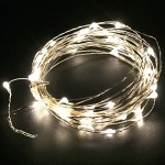 Sanwo string lights 5M/16.5ft 50 LED Starry String Lights Waterproof LED's on a Flexible Silver Copper Wire for Christmas, Outdoor, Patio, Garden, Party Decoration with DC12V 2A Adapter(Warm White)