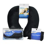 Clöudz Premium Comfort Travel Set – Black (Includes a Cloudz Microbead Neck Pillow, Compact Travel Blanket, and Microbead Sleep Mask)