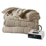 Sunbeam Microplush Heated Blanket, Queen, Mushroom, BSM9BQS-R772-16A00