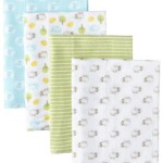 Gerber Unisex-Baby Newborn 4 Pack Flannel Burp Cloths – Hippo, Green, One Size
