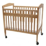 LA Baby Compact Non-folding Wooden Window Crib with Safety Gate, Natural