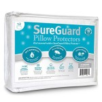 Set of 2 Standard Size SureGuard Pillow Protectors – 100% Waterproof – Zippered – Breathable Soft Cotton Terry Cover – Block Bed Bugs, Dust Mites, Allergens – 30 Day Return Guarantee, 10 Year Warranty