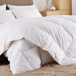 Puredown White Goose Down Comforter-600 Fill Power-King/Cal King-Cotton Shell 500TC-Stripe White
