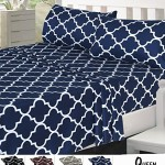 Egyptian Comfort 4-Piece SHEET SET, Velvety Brushed Printed Microfiber – Luxurious, Hypoallergenic, Breathable & Soft – Wrinkle, Fade & Stain Resistant – Hotel Quality By Utopia Bedding (Queen, Navy)