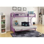Sturdy Metal Construction Eclipse Twin Over Full Futon Bunk Bed, Multiple Colors (Bed Frame Only) (PURPLE)