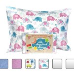 Toddler Pillowcase – Made for Little Sleepy Head Toddler Pillow 13 X 18 – 100% Cotton – Naturally Hypoallergenic – Made in USA! (Elephants)
