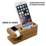 Apple Watch Stand, Coeuspow Bamboo Wood Apple Watch Stand Bracket Docking Station Charger Holder for Both 38mm and 42mm, Iphone 6/6plus/ 5s/5/5c Charging Station and Dock Multi Device Cord Organizer Stand and Charging Station with Built-in Insert Slots