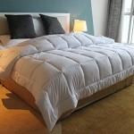 Amor&Amore Soft Gentle Lightweight Warm Down Alternative Comforter,Size 90 x 90 Inches,Bleach White
