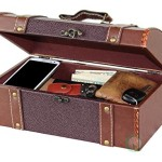 Vintique Wood Dresser Valet Leather Chest with Velvet Lining
