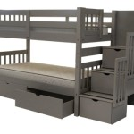 Bedz King Stairway Bunk Bed with 3 Drawers Built-In to The Steps and 2 Under Bed Drawers, Twin Over Twin, Gray