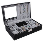 Songmics Black Leather Jewelry Box Watch Organizer Storage Case with Lock & Mirror UJWB41B