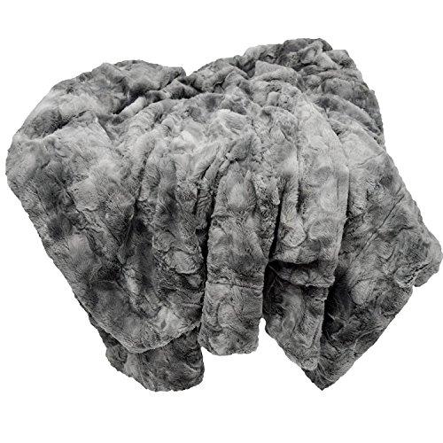 Chanasya Super Soft Cozy Fuzzy Fur Warm Charcol Gray Sherpa Throw Blanket Gray Waivy Fur