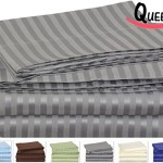 Queen Striped Bed-Sheet-Set Grey – Brushed Velvety Microfiber -Luxurious, Comfortable, Breathable, Soft & Extremely Durable-Wrinkle, Fade & Stain Resistant – Hotel Quality By Utopia Bedding (Queen, Grey)