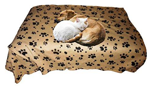 Cat And Dog Large Paw Print Fleece Blanket Medium Heavy