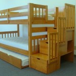 Bedz King Twin Over Twin Stairway Bunk Bed with Twin Trundle, Honey