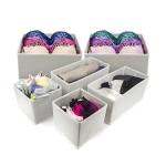 Sorbus® Foldable Storage Drawer Closet Dresser Organizer Bins for Underwear, Bras, Socks, Ties, Scarves, Accessories and More – 6 Piece Set (White)