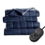 Sunbeam Quilted Fleece Heated Blanket, Twin, Newport Blue