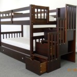 Bedz King Twin Over Twin Stairway Bunk Bed with Twin Trundle, Cappuccino