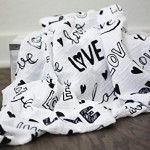 100% Organic Muslin Swaddle Blanket by ADDISON BELLE – Oversized 47 inches x 47 inches – Best Baby Shower Gift – Premium Receiving Blanket (Love Print)