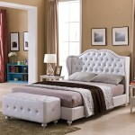 White Tufted Design Leather Look Full Size Upholstered Platform Bed With Crystal Buttons