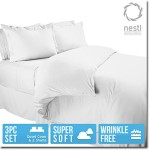Nestl Bedding Duvet Cover, Protects and Covers your Comforter / Duvet Insert, Luxury 100% Super Soft Microfiber, Queen Size, Color White, 3 Piece Duvet Cover Set Includes 2 Pillow Shams
