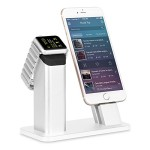 Apple Watch Stand,ziku Premium Aluminum Charging Stand Dock Station Cradle Holder for Apple Watch&iphone– Supports Apple Watch Night Stand Mode and Iphone with Different Thickness Case (Silver)