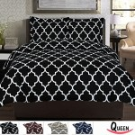 Queen Printed Duvet-Cover-Set Black – Brushed Velvety Microfiber – Luxurious, Comfortable, Breathable, Soft & Extremely Durable – Wrinkle, Fade & Stain Resistant By Utopia Bedding (Queen, Black)