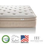 Brentwood Home Finale 10-Inch Eurotop 3-Zone Wrapped Spring Mattress, 100% Made in USA, CertiPUR, Natural Wool Layer, Beige, Full Size